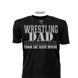 Comfortable 100% Pre Shrunk Cotton Wrestling Dad Black Tee With Grey Lettering - Front View Shows Support For Son/Daughter Wrestler