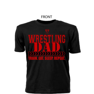 Comfortable 100% Pre Shrunk Cotton Wrestling Dad Black Tee With Red Lettering - Front View Shows Support For Son/Daughter Wrestler