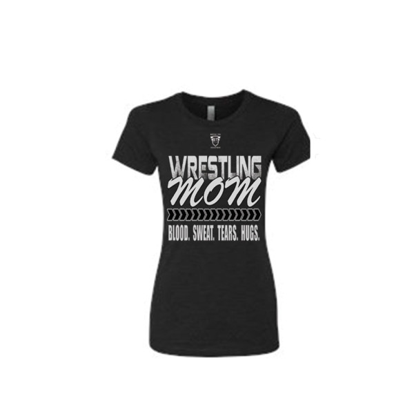 Comfortable 100% Combed Ringspun Cotton Wrestling Mom Babydoll Style Black Tee With White Lettering - Front View Shows Support For Son/Daughter Wrestler