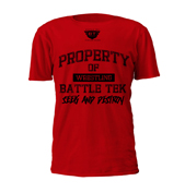 Property of Battle Tek Red Performance Tee Just Added To Battle Tek Athletics Website