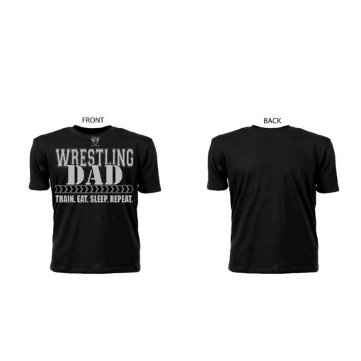 Comfortable 100% Pre Shrunk Cotton Wrestling Dad Black Tee With Grey Lettering Showing Front And Back Views | Ideal Tee Shirt For Supporting Son/Daughter Wrestler
