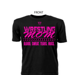 Comfortable Ringspun Wrestling Mom Black Tee With Pink Lettering - Front View Shows Support For Son/Daughter Wrestler