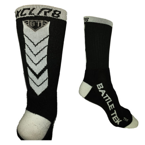The Battle Tek Athletics XCLR8 Black and White Performance Socks offer Moisture Control, Impact Absorbency and Great Style – Back and Side Views