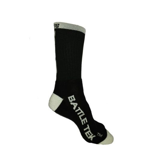 The Battle Tek Athletics XCLR8 Black and White Performance Socks offer Moisture Control, Impact Absorbency and Great Style – Side View