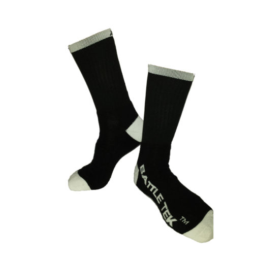 The Battle Tek Athletics XCLR8 Black and White Performance Socks offer Moisture Control, Impact Absorbency and Great Style – Side and Front Views