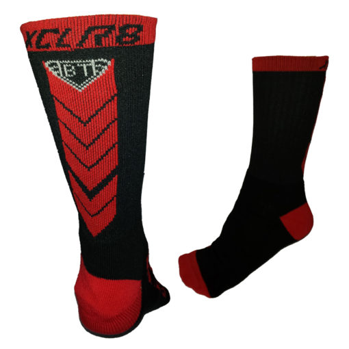 Battle Tek Athletics XCLR8 Black and Red Performance Socks Back and Side Views