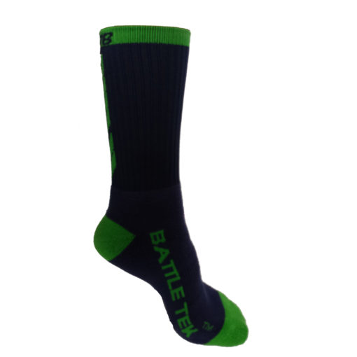 The Battle Tek Athletics XCLR8 Navy and Green Performance Socks offer Moisture Control, Impact Absorbency and Great Style – Side View