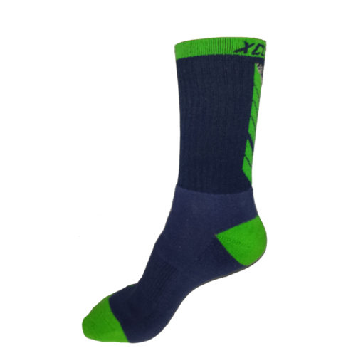 The Battle Tek Athletics XCLR8 Navy and Green Performance Socks offer Moisture Control, Impact Absorbency and Great Style – Alternate Side View