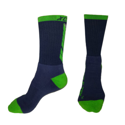 The Battle Tek Athletics XCLR8 Navy and Green Performance Socks offer Moisture Control, Impact Absorbency and Great Style – Side and Front Views