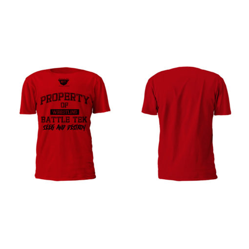 Red Property Of Battle Tek Lightweight 100% Micro Mesh Polyester Performance Tee - Front And Back Views | Comfortable Battle Tek Athletics Performance Tee