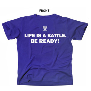 Blue Life Is A Battle - Blue and White Battle Tek Performance T-shirt