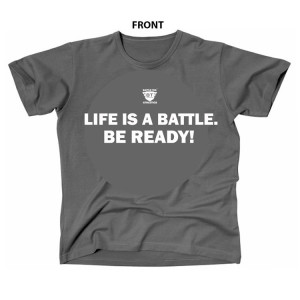 Life Is A Battle - Grey and White Battle Tek Athletics Performance T-shirt