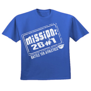 Blue and White Battle Tek Athletics Mission To Be Number One Mens Performance Tee Shirt