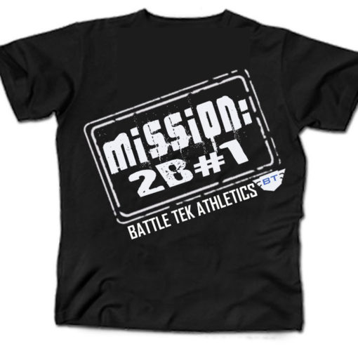 Black and White Battle Tek Athletics Mission To Be Number One Mens Performance Tee Shirt
